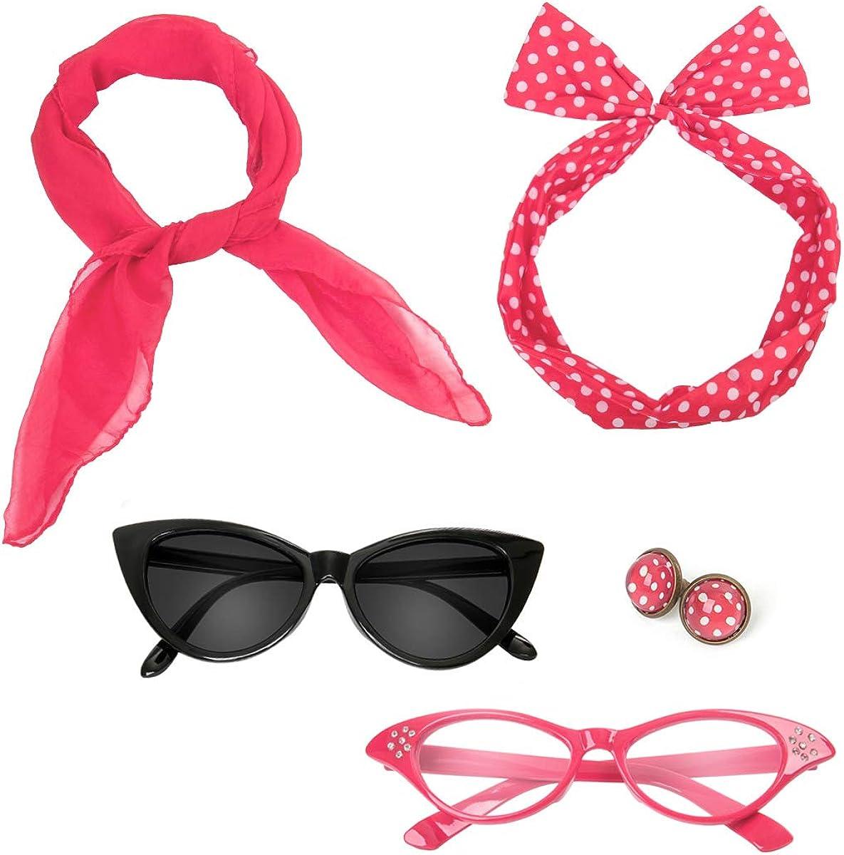 Retro 50's Costume Accessories Set Polka Dot Chiffon Scarf Cat Eye Glasses Bandana Tie Headband & Earrings
