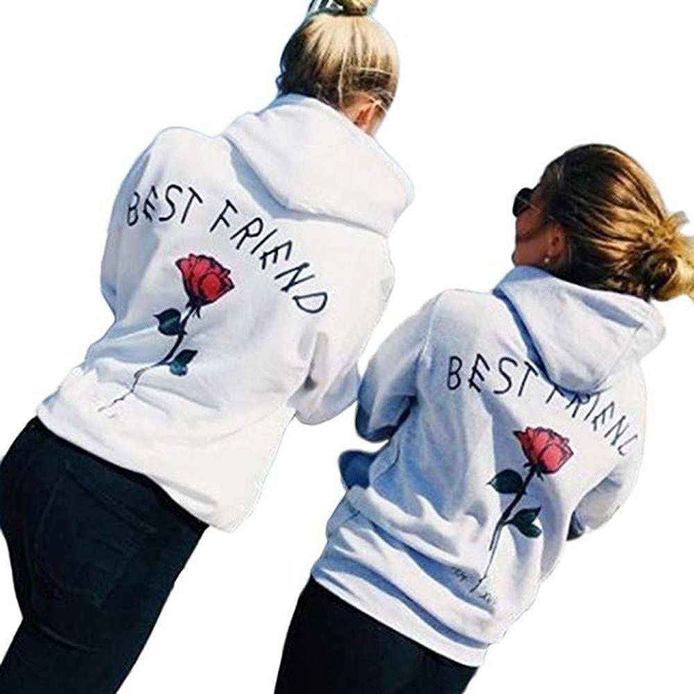 Ladies Hoodies,Cute Best Friends Hoodies Rose Sister BFF Couple Hooded Sweatshirt for Teen Girls