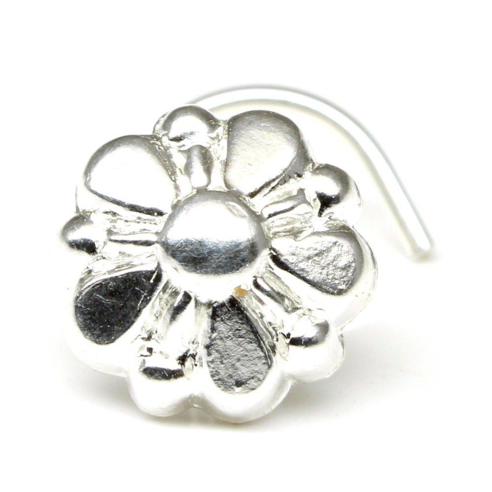 Silver Nose Stud corkscrew piercing nose ring curved bar 22g