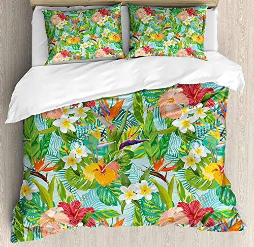 Funy Decor Leaf Bedding Set,Vintage Cartoon Style Image of Hawaiian Flowers Crepe Gingers,4 Piece Duvet Cover Set Bedspread for Childrens/Kids/Teens/Adults,Blue Light Green Orange and Pink Queen Size - Print Bedding Hawaiian