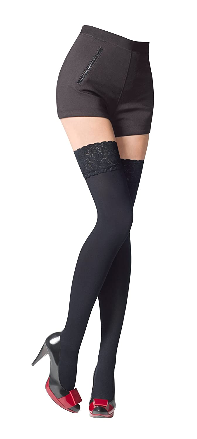 e186329b981 NEW Lace Top 80 Denier Sheer Hold-Ups Stockings by Romartex