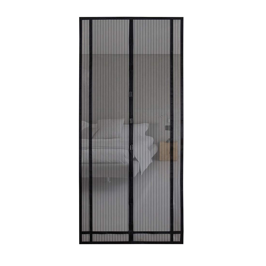Sekey Anti-Insect trimmable Magnetic Door Curtain for Wooden, Iron, and Aluminum Doors in a Size of up to 90.6 * 63in 230/220 * 160/150/140cm (trimmable Height and Width) Black