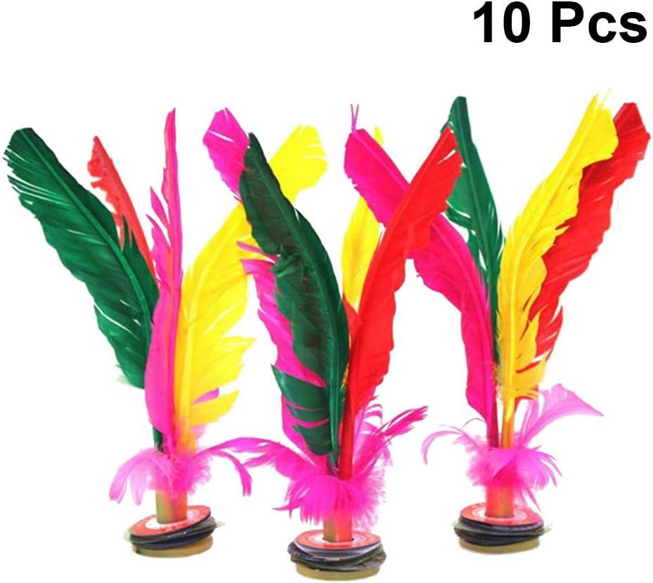 LIOOBO 10 pcs Color/é Plume Coup Volant Chinois Jianzi Oie Plume en Caoutchouc Pied Coup De Pied Volant Al/éatoire Couleurs