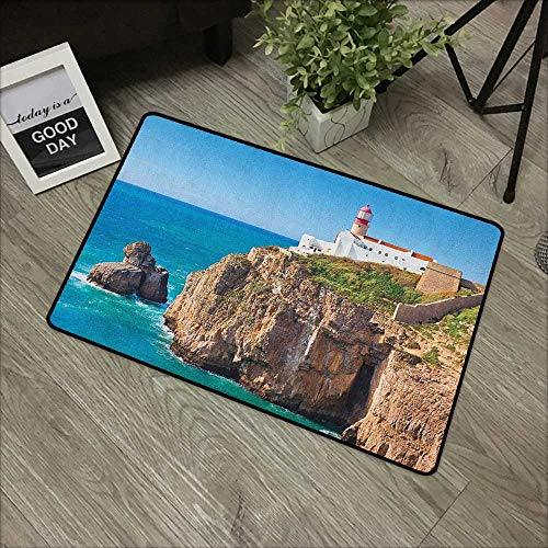 - Interior mat W19 x L31 INCH Lighthouse,Daytime Rocky Lighthouse Shore Seaside Rocks Building Cliff Sunny Day Clear Sky, Multicolor Easy to Clean, Easy to fold,Non-Slip Door Mat Carpet