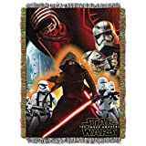 1 Piece 48'' x 60'' Red Star Wars Theme Throw Blanket, Kylo Ren Darth Vader C-3PO Movie Characters Space Galaxy Light Saber TIE Fighter Millennium Falcon Drones Jedi R2-D2 Luke Skywalker, Polyester