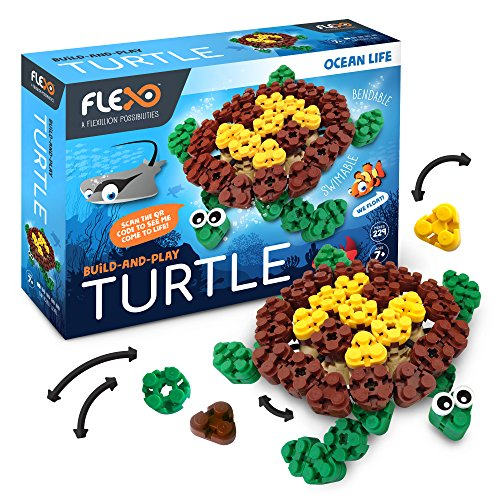 Flexo - Toy Building Brick Set with Flexible 3D Blocks - Fun Ocean Theme Educational Stem Learning for Girls & Boys - Kids Age 7+ - 229 Piece Build Kit - Award Winning Design - Turtle Design