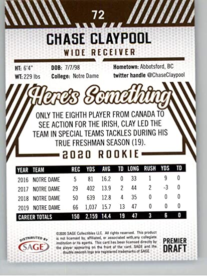 2020 SAGE HIT HIgh Series Premier Draft Silver Football #72 Chase Claypool Notre Dame Official Player Licensed Trading Card