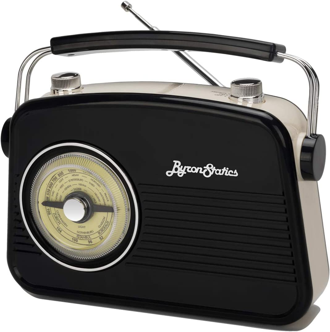 Byron Statics Radios Portable Am FM Analog Large Rotary Dial Swivel Good Sensitivity and Audio External Metal Antenna Knob Switch Removable Power Plug or 1.5V AA Battery with Headphones Plug Black
