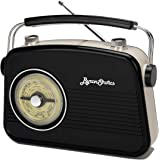 Byron Statics Radios Portable Am FM Analog Large Rotary Dial Swivel Good Sensitivity and Audio External Metal Antenna…