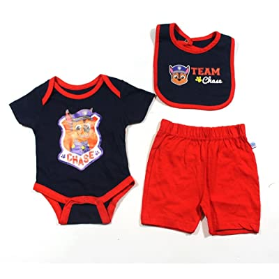 KWC Baby Boys Paw Patrol BodysuitShorts Bib Set Size 0 3 Months