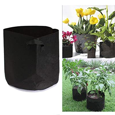 AGUIguo 5 Pcs Grow Bags, 11, Black Fabric Pot for Peppers Potatoes Tomatoes and Plants (2 Gallon) : Garden & Outdoor