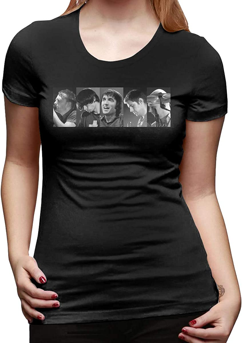 RongHao Radiohead Band Tee for Woman Breathable T-Shirts Black