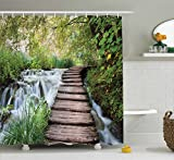 House Decor Shower Curtain by Ambesonne, Wooden Footbridge Along the Stream in Greenery Jungle Waterscape Scenery Image, Polyester Fabric Bathroom Decor Set with Hooks, White Green and Tan