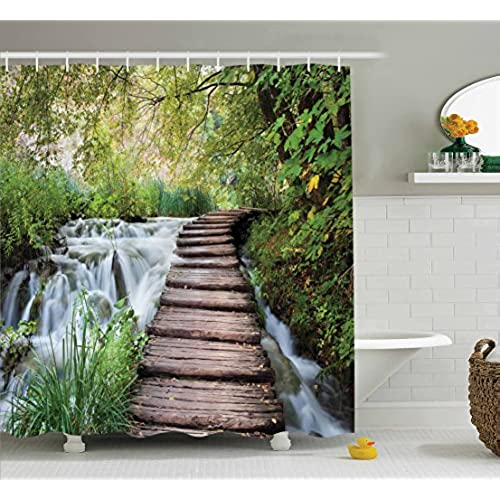 Ambesonne House Decor Shower Curtain Set, Wooden Footbridge Along The  Stream In Greenery Jungle Waterscape Scenery, Bathroom Accessories, ...