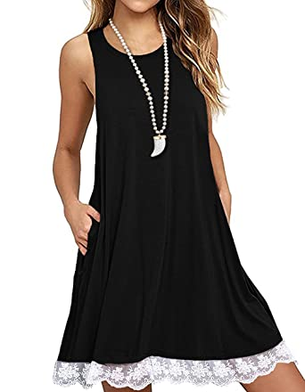 929f7bcdaa45e Kool Classic Women s Sleeveless Lace Pocket Casual Loose T-Shirt Dress  Black Small