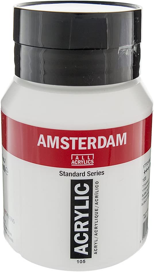 Royal Talens Amsterdam Standard Series Acrylic Color, 500ml Tube, Titanium White (17091052)