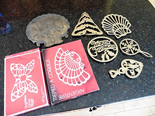LOT of 8 VTG Trivets Brass Silverplate t - Silverplate Vanity Shopping Results