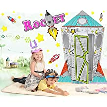 Littlefun Kid's Foldable Premium Corrugated Cardboard Playhouse Child Outdoor Indoor DIY Painting Imagination Toy Play House Craft Markers Included(Rocket Aircraft)