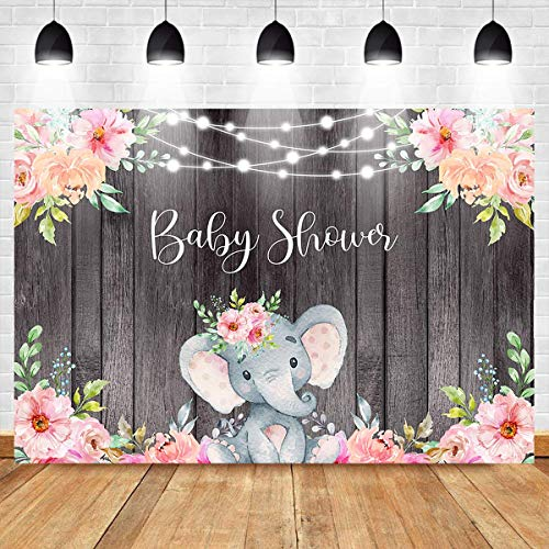 Mehofoto Elephant Baby Shower Background Pink Baby Girl Elephant Backdrop 7X5ft Vinyl String Lights Wooden Floral for Girl Birthday Party Banner Backdrops]()