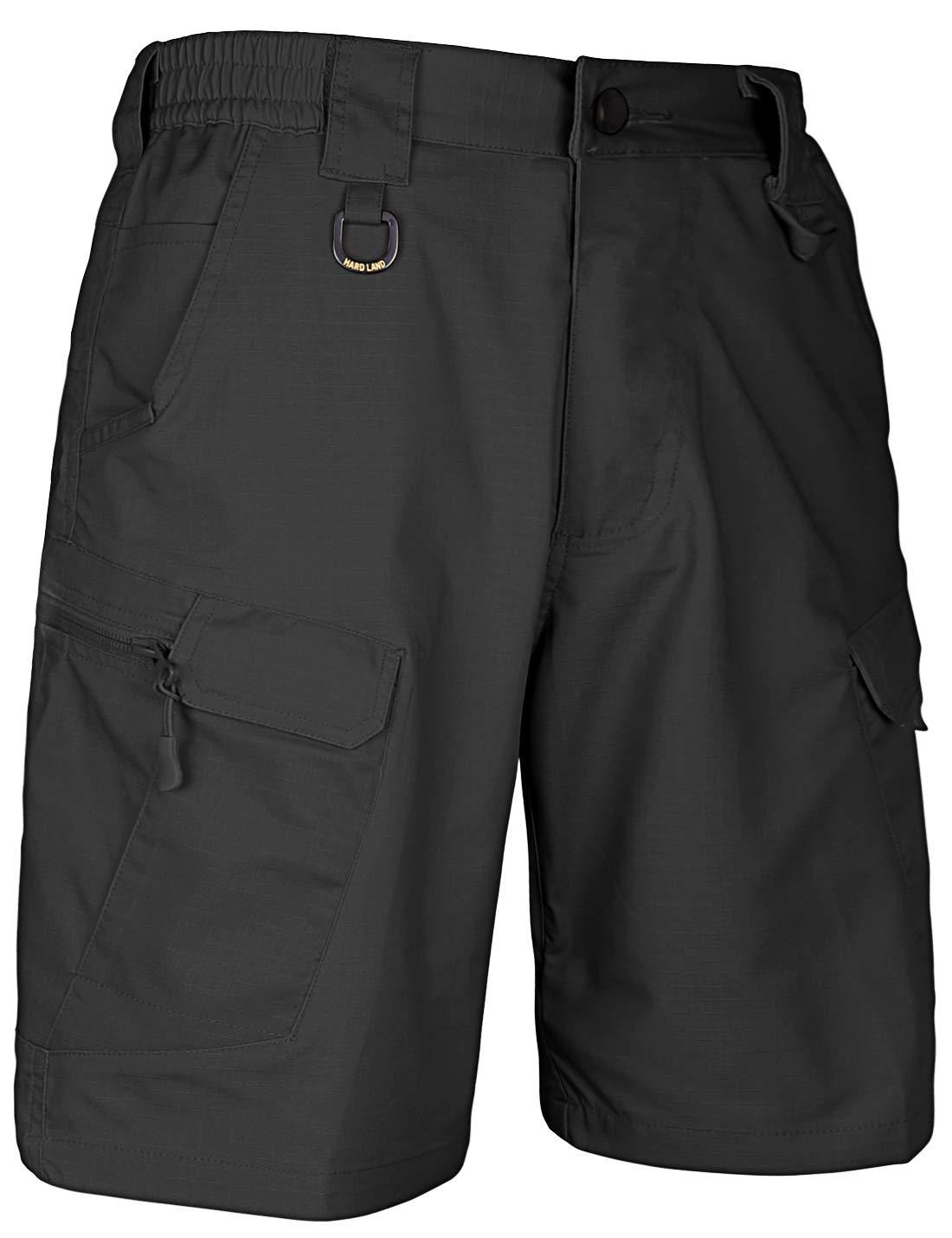 HARD LAND Men's 9.5'' Urban Tactical Shorts Waterproof Ripstop Teflon Elastic Waist Cargo Work Shorts Hiking Fishing Charcoal Waist38