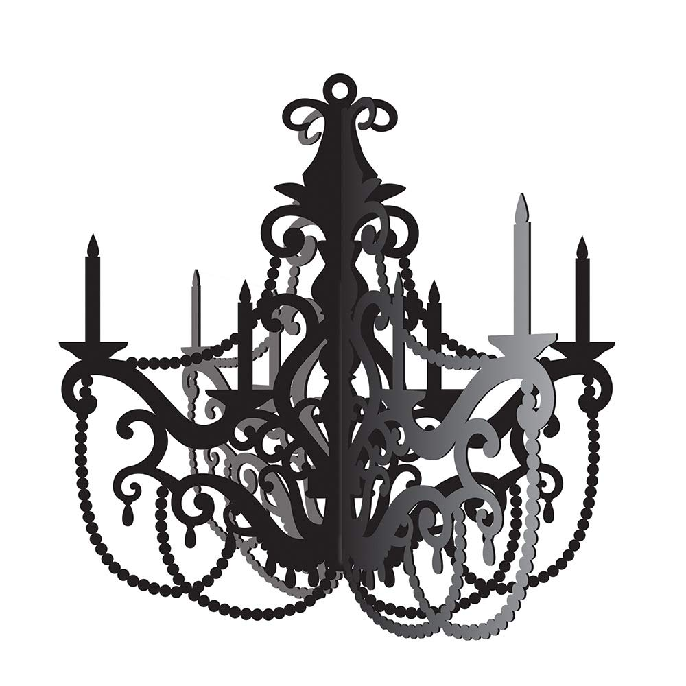 Party Central Club Pack of 12 Black and Gray Antique Style Chandelier Cutout Decorations 17'' by Party Central