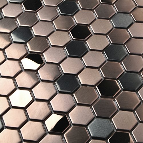 Hexagon Stainless Steel Brushed Mosaic Tile Rose Gold Black Bathroom Shower Floor Tiles TSTMBT021 (1 Sample [4'' x (Shower Floor Tiles)