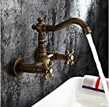 Furesnts Modern home kitchen and bathroom faucet European copper antique wall-mounted hot and cold Bathroom Sink Basin Mixer Faucets gold wall-mounted tub Faucets , white,(Standard G 1/2 universal hose ports)
