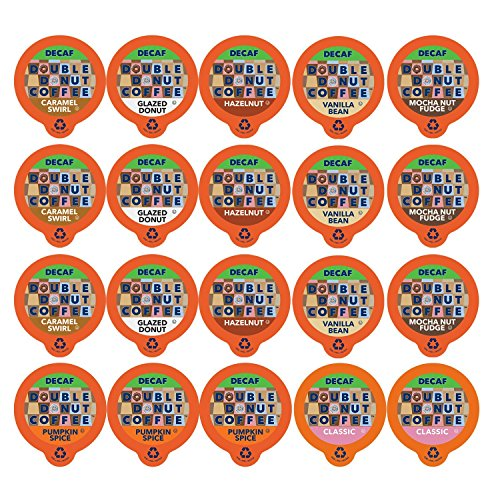 (Double Donut Coffee Decaf Flavored Coffee Single Serve Cups For Keurig K Cup Brewer Variety Pack Sampler, 20Count)