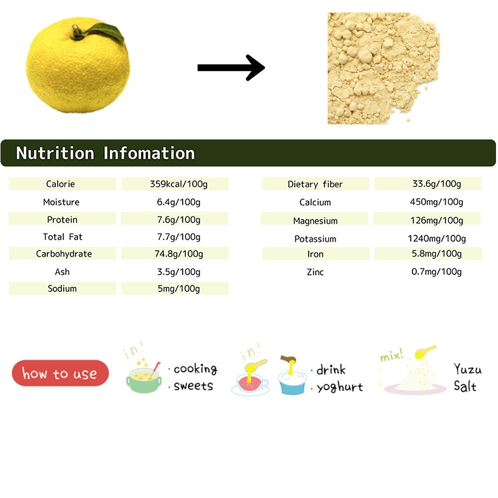 Yuzu powder 70g Citrus junos made in Japan. for cooking spice.