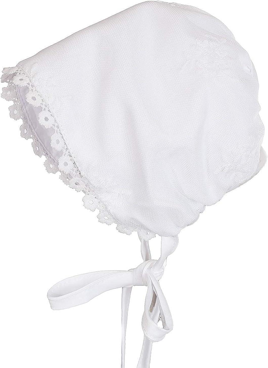 Cinda Vestido de Bautizo y Gorro de Encaje Blanco para beb/és