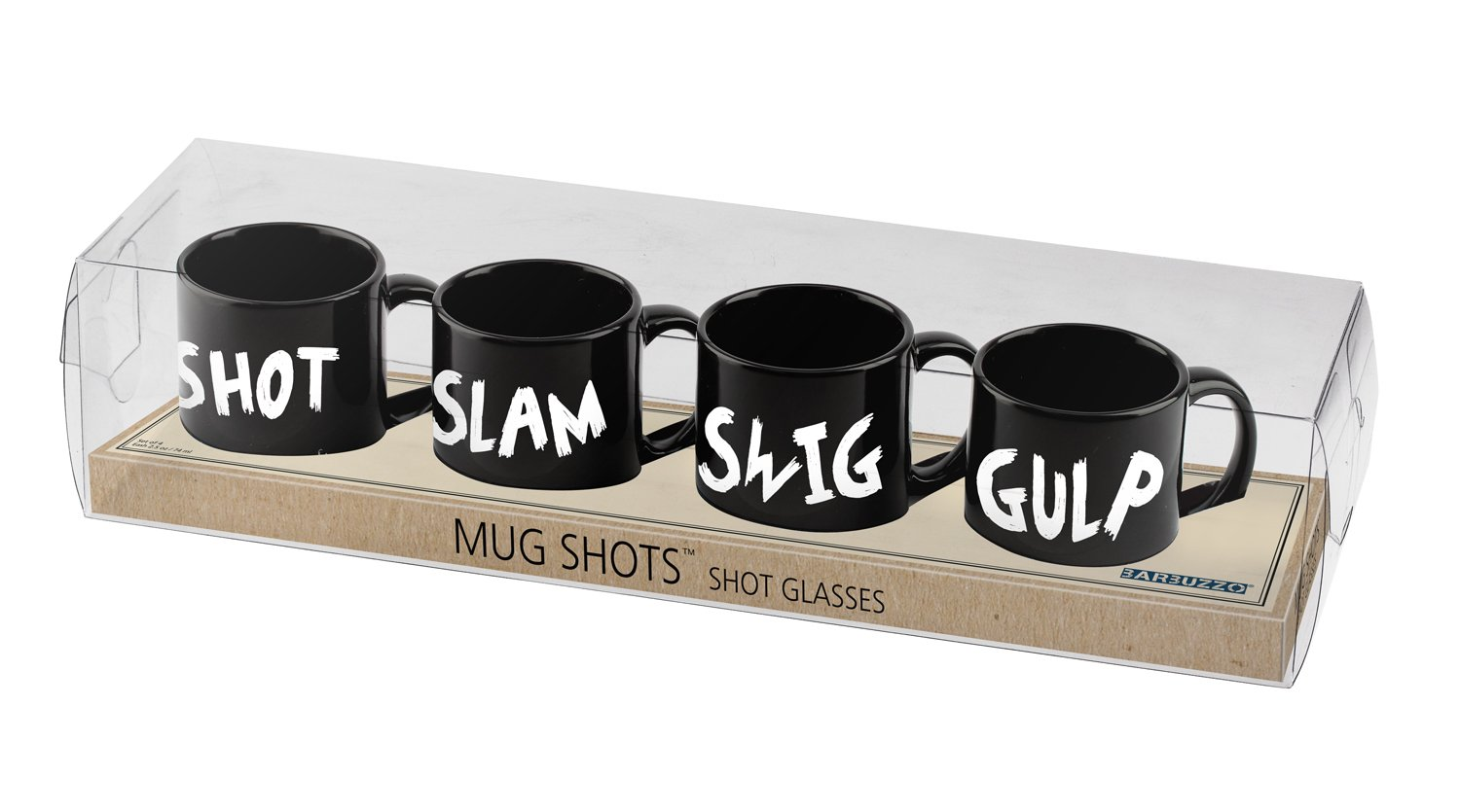 Barbuzzo Mini-Mug Shot Glasses Set of 4 Shot Glasses Shaped Like Coffee Mugs - From Your Morning Espresso to Lining Up Your Favorite Shots UTU3GI0074