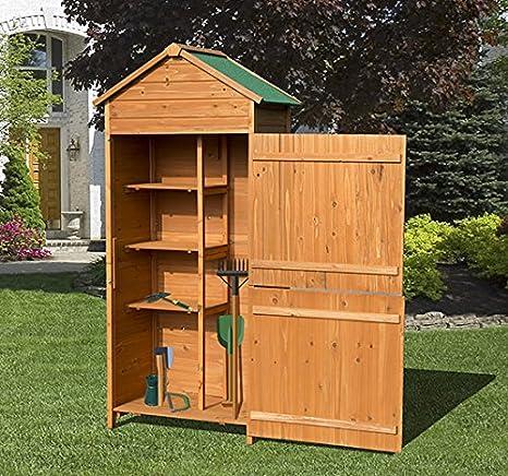 Outsunny-Armario para herramientas trastero herramientas de jardín madera de pino 50 x 90 x 190: Amazon.es: Bricolaje y herramientas