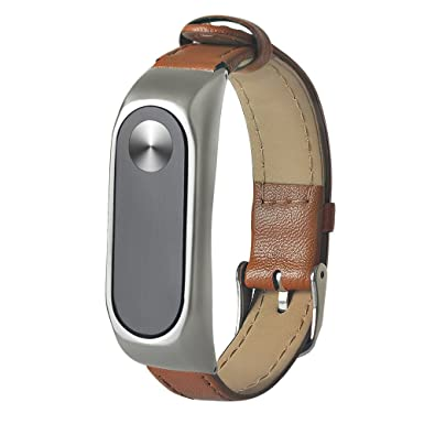 JiaMeng Reemplazo de PU Cuero Correa de Reloj Inteligente Banda para Xiaomi Miband 2(marrón