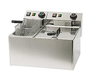 Freidora de doble uso profesional, acero inoxidable, 5 y 8 litros, 5100 W, termostato hasta 190 °C; Fe 74 S ggg: Amazon.es