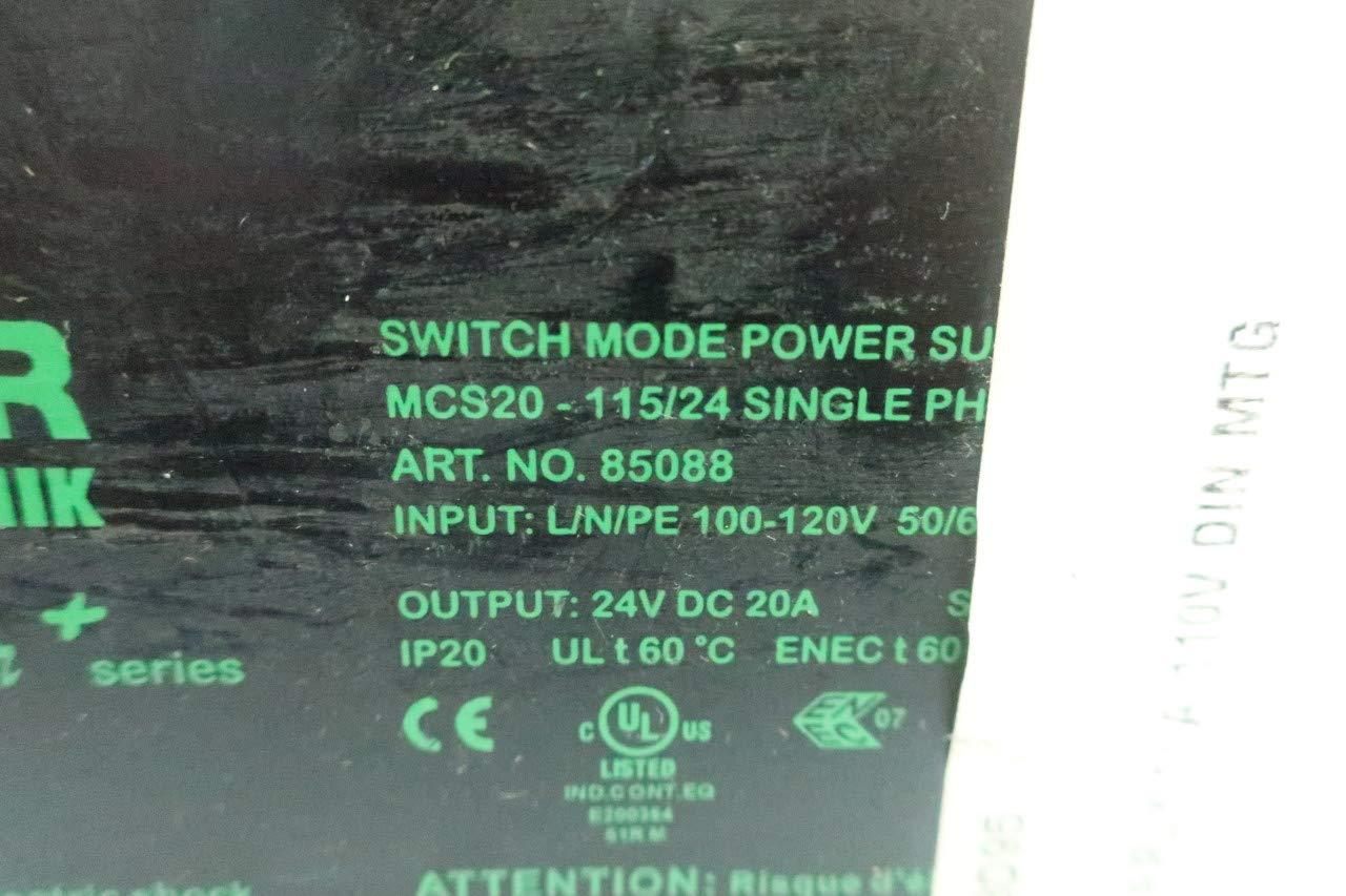 Power Supply 100-120V-AC 20A 24V-DC MURR ELEKTRONIK MCS20-115//24 Power