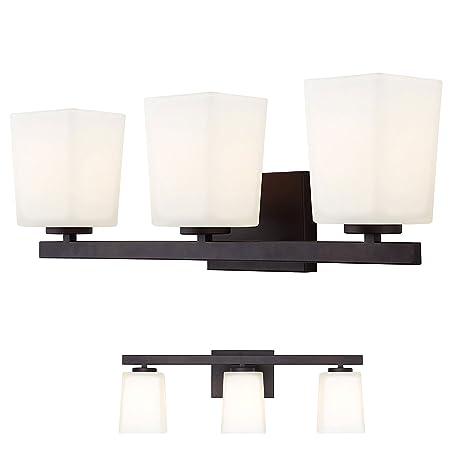 info for eb7de ff251 Oil Rubbed Bronze Vanity 3 Light Fixture Bathroom Bath Bar Flat Opal Glass  Globes