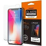 【Spigen】 iPhone X ガラスフィルム, [ 液晶保護 ] [ 業界最高硬度9H ] [ Rラウンド 加工 ] [ 3D Touch対応 ] GLAS.tR SLIM アイフォン X 用 強化ガラス液晶保護フィルム (iPhone X, GLAS.tR SLIM (1枚入))
