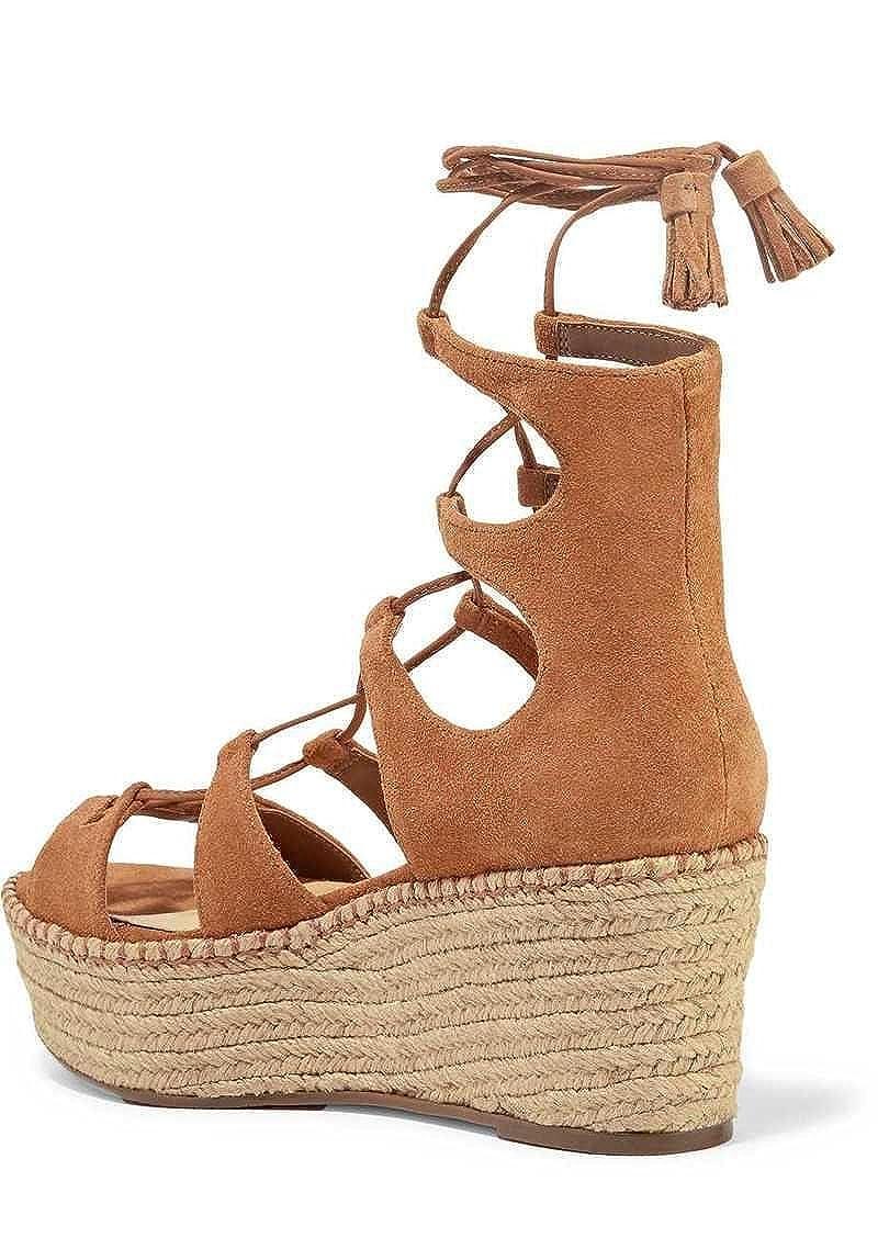 8da9bccf5255 Amazon.com  SCHUTZ Hudson Saddle Lace-up Suede Wedge Sandals Brown Suede  Flatform Platform  Shoes