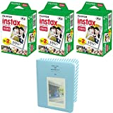 Fujifilm INSTAX Mini Instant Film 60 sheets White (3x Twin Pack) With Photo Album 64 Pockets Blue Value Set Bundle For Fuji Mini 8 7s 25 50s 90 SP-1 Printer