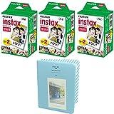 Fujifilm INSTAX Mini Instant Film 60 sheets White (3x Twin Pack) With Photo Album 64 Pockets Blue Value Set Bundle For Fuji Mini 8 7s 25 50s 90 SP-1 Printer