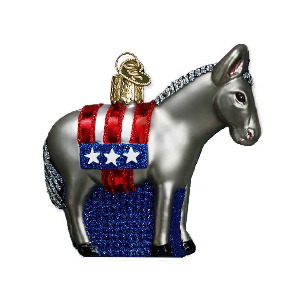 Old World Christmas Ornaments: Democratic Donkey Glass Blown Ornaments for Christmas Tree