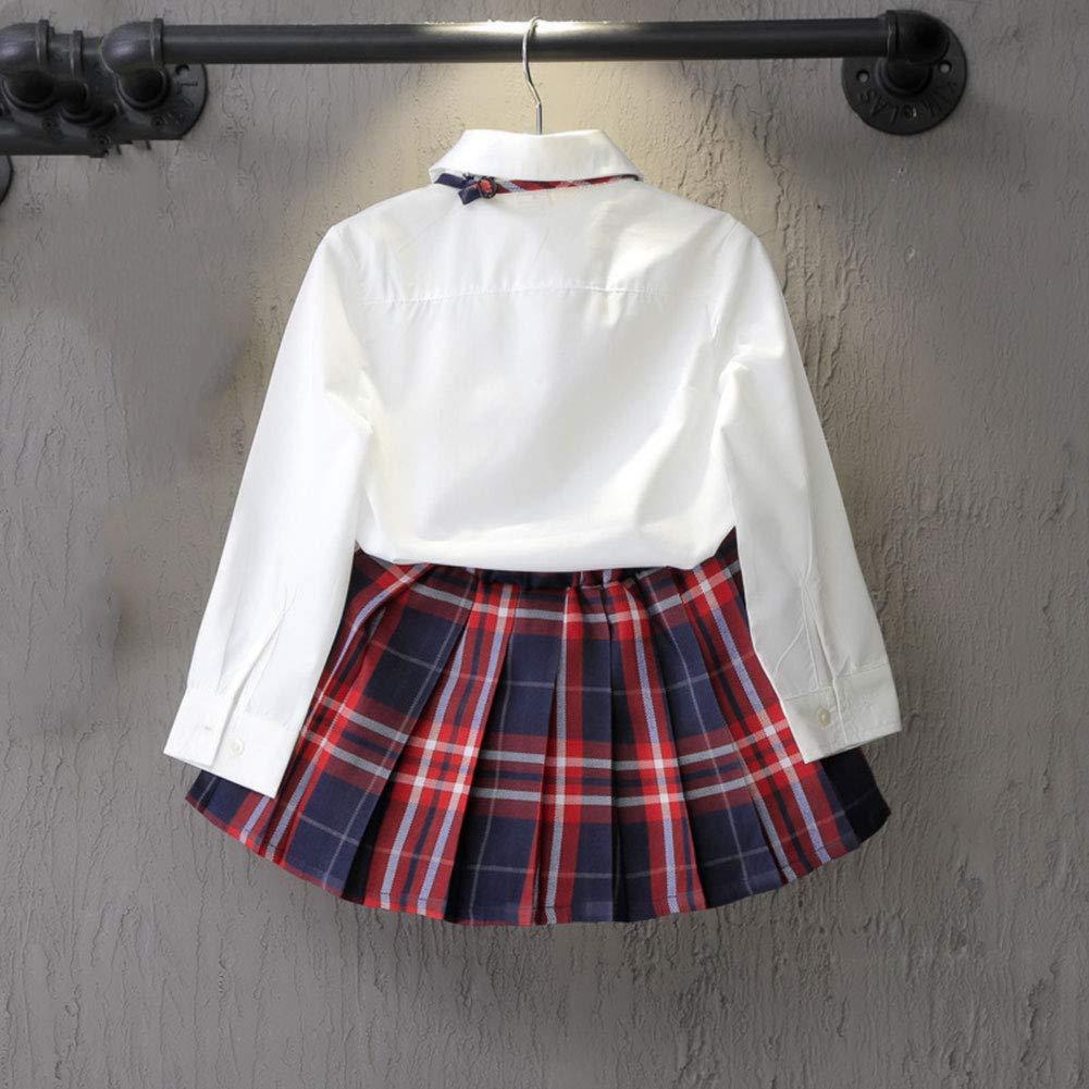 FCQNY Kid Girl School Uniform Long Sleeve White Bowknot Shirt+Red Plaid Skirt 2Pcs
