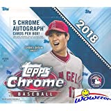 2018 Topps Chrome Baseball MASSIVE Factory Sealed HOBBY JUMBO BOX with (5) CHROME AUTOGRAPHS & (12) REFRACTOR PARALLELS! Look for RC's & Auto's of Shohei Ohtani, Gleyber Torres, Many More! WOWZZER