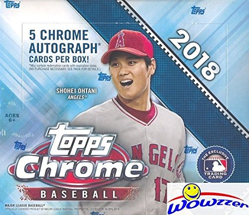 2018 Topps Chrome Baseball MASSIVE Factory Sealed HOBBY JUMBO BOX with (5) CHROME AUTOGRAPHS & (12) REFRACTOR PARALLELS! Look for RC's & Auto's of Shohei Ohtani, Gleyber Torres, Many More! ()