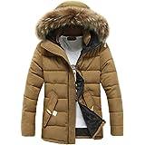 VICGREY ❤ Cappotto Uomo Inverno, Uomo Invernali Imbottito Cappotto con Cappuccio Collare in Eco-Pelliccia Addensare Caldo Impermeabile A Prova di Vento Piumino Giacca Parka Giubbini