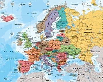 europakarte poster Poster Europakarte   englisch   Größe 40 x 50 cm   Miniposter  europakarte poster