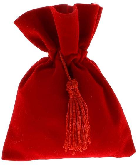 12 PZ Sacchetto portaconfetti LAUREA 8x10cm cvelluto rosso con nappina bee6600c82a9