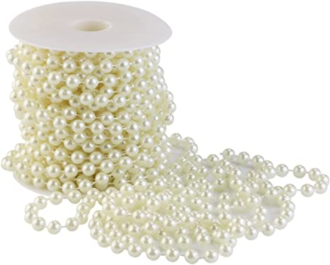 5-20m Faux Pearl Bead String Wedding or Party Table or Tree Decoration Bead Trim