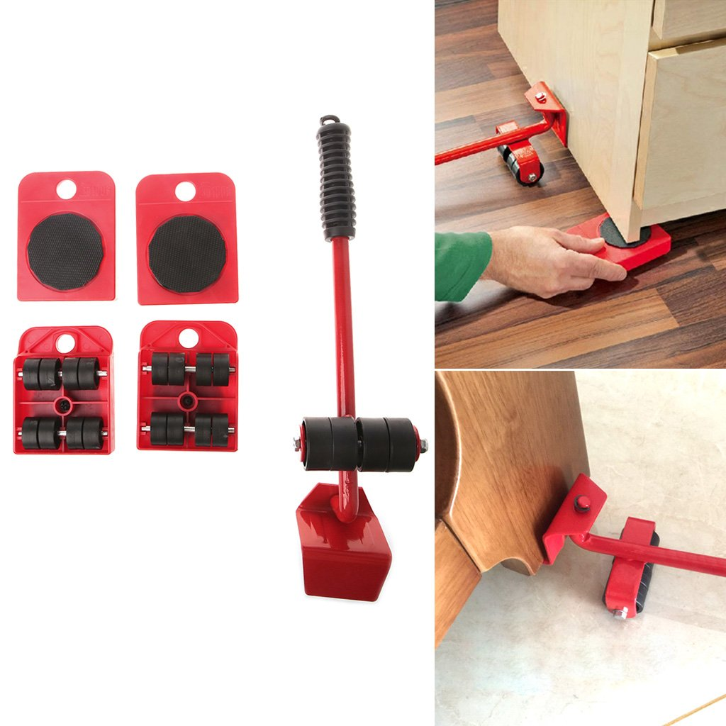 Yunso Furniture Movers Rollers Portable Easy Furniture Transport Set and Wheelset for Moving Sofa Table Cabinet Furniture Red Speedy Furniture Dolly Movers