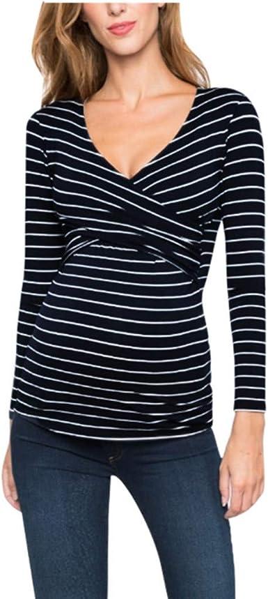 Mitlfuny Blusa Embarazada para Premamá, Camiseta de Maternidad Divertido Estampada de Manga Señoras de Las Mujeres Embarazadas Lactancia Materna Raya Blusa de Manga Larga Tops Camisa: Amazon.es: Ropa y accesorios